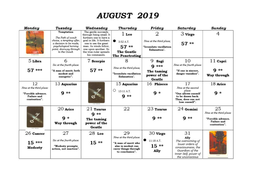 August 2019 Akhaldan I Ching Calendar 2019